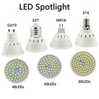ingrosso lampadina mr16 led-Faretto a lampadina LED E27 E14 MR16 GU10 Base 120 ° Lampadina a fascio di luce 48 60 80 LEDs per luce di pista Accent Light Kitchen Home