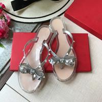 ботинки стиля желе оптовых-2019 лето повседневный стиль желе обувь женщины сандалии квартиры заклепки тапочки мода Женская обувь размер 35-43 плюс размер