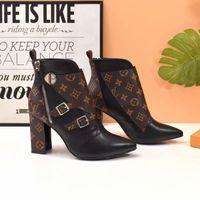 kadınlar için kahverengi düz çizmeler toptan satış-2019 Lüks Kadın Karmakarışık Tasarımcı Ayak Bileği Çizmeler Siyah Kahverengi Deri Bayan Düz Elbise Çizme 19ss Kutusu Ile Moda Rahat Çizmeler