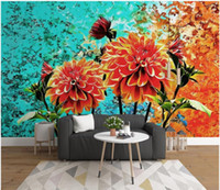 Wholesale oil proof kitchen wallpaper for sale - Group buy Custom photo wallpaper for walls d murals wallpapers Simple hand painted oil painting floral background wall decorative painting wall paper