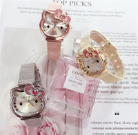 montres de filles mignonnes achat en gros de-Diamants Bonjour Kitty Tête Kitty Cat Drill-in bande dessinée montre en acier ceinture enfants fille mignonne montre de bande dessinée avec boîte