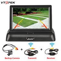 Wholesale 4.3 inch lcd tft car resale online - Vtopek Inch TFT LCD Car Monitor Foldable Display Reverse Camera Parking System for Car Rearview Monitors NTSC