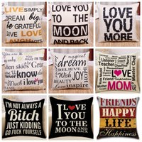 Wholesale home decor themes resale online - Pillow Covers Letter Throw Pillow Cases Square Decorative Pillow Cushion Covers Pillowslip Love Theme Home Decor Designs YW2666
