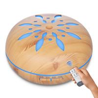 ультразвуковые масла оптовых-Увлажнитель 550ML пульт дистанционного управления увлажнитель воздуха ультразвуковой лепесток древесины зерна ароматерапия эфирное масло диффузор для дома с красочным светом