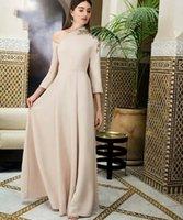 langer kleiderhülsen großhandel-Neue Lange Abendkleider Arabisch A Line Partykleid Vestido Longo Abendkleider 3/4 Ärmel Mädchen Fromal abendkleider 2019