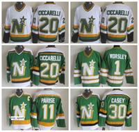 venta de camisetas de hockey vintage al por mayor-Dallas Stars Vintage 20 Dino Ciccarelli Jersey Hombres Verde Blanco 1 Gump Worsley 11 J.P. PARISE 30 Jon Casey Ice Hockye Jerseys Oferta
