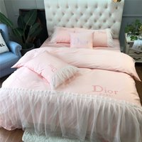 Wholesale girls princess duvet covers for sale - Group buy Light Pink Lace Embroidery Bedding Suit D Letter Princess Girl Bedding Suit S Cotton Chiffon Design Bedding Sets