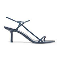 elegantes kleid sandale großhandel-Frauen Designer Sandalen Sommer nackten Ledersandalen schlanke Riemen 100% Schaf weiches Leder 65mm elegante High Heels Kleid Schuhe Party Schuhe