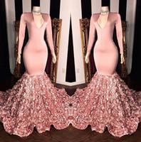 schöne blumen bilder großhandel-Schöne Rose Blumen Rosa Meerjungfrau Ballkleider 2019 Vintage Langarm Real Image Abendkleider BC1341