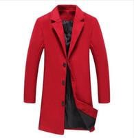 diseño de oficina de traje al por mayor-Nuevos Hombres Mezclas de lana roja Diseño de traje Abrigo de lana Hombres Casual Trench Coat Design Plus Size 5xl Slim Fit Chaquetas de traje de oficina
