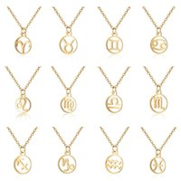 Wholesale zodiac pendants for men resale online - Zodiac Sign Pendant Necklace for Women Gold Plated Horoscope Aries Leo Constellations Fashion Stainless Steel Star Chain Men Jewelry Gift