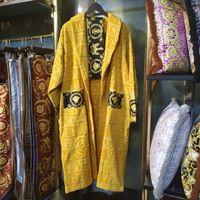 roupa de dormir unisex venda por atacado-Luxo clássico roupão de algodão homens mulheres marca sleepwear kimono quente roupão de banho casa de banho vestir unissex klw1739