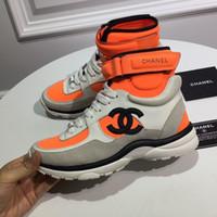tops de diseño para mujer al por mayor-Suede Calfskin Lycra High Top Sneaker para hombre Zapatos de diseño de moda de lujo para mujer Bota deportiva de calidad superior Zapatillas de deporte de diseño famoso con caja