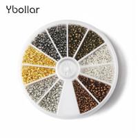 bolas de engaste al por mayor-1 caja de latón Color mixto de cobre redondos del espaciador Abalorios encrespaduras End 2 mm + 2,5 mm 1500pcs 750pcs Para Hacer De joyas