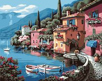 Wholesale houses lake painting resale online - Diy digital oil painting Lake house frameless coloring hand painted Living room bedroom decoration painting