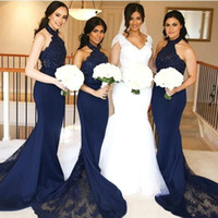 Wholesale halter neck long wedding dresses online - Dark Navy Bridesmaid Dresses Mermaid Halter Neck with Lace Maid of Honor Gowns Long Formal Wedding Guest Dresses Custom