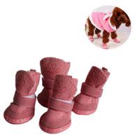 vestido de fantasia inverno venda por atacado-1 Set 4pcs Pet Inverno sapatos quentes Botas filhote de cachorro mistura de algodão Neve do inverno botas de caminhada quentes bonito Fancy Dress Up Pet Dog S ~ L2 outubro # 2