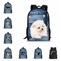 Wholesale girls new college bags for sale - Group buy Free DHL Women Backpack D Print Animal Cat Dog Backpack Rucksack College Girls School Bag New Shoulder Bags For Hiking Camping M98Y