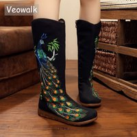 Wholesale peacock canvas prints resale online - Veowalk Autumn Old Beijing Peacock Sequins Cotton Embroidered Woman Casual Mid Boots Ladies Platform Canvas Shoes Botas Mujer