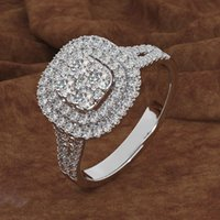 anillo de bodas rosa establece al por mayor-Anillo de joyería de marca Corte redondo Diamante rosado 2 Surround Pave ajuste cz Alianzas de boda Anillos para mujeres