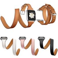pulseira de couro dupla banda venda por atacado-44mm 40mm pulseira de couro genuíno para apple watch series 4 3 2 1 dupla turnê pulseira pulseira de couro das mulheres pulseira 38mm 42mm y19052301
