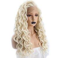 beyaz kıvırcık dantel ön peruk toptan satış-Gevşek Dalga Sentetik Peruk Sarışın Beyaz Kadınlar Için Isı Resistnat Fiber Saç Tutkalsız Gevşek Kıvırcık Sentetik Dantel Ön Peruk Ile Bebek saç