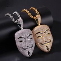 хип-хоп маски оптовых-Американский фильм V Для Vendetta Character маска Глава циркон камень ожерелье Мужские Iced Out Подвеска Золото Латунь Hiphop ювелирных изделий RRA2023