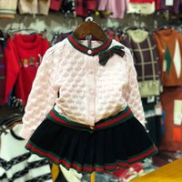 Wholesale chinese outfits for girls resale online - Children Sweater Outfits Shirt Skirt Knit Wear Baby Girls Clothes Set Suit for Girls Autumn Spring Kids Cotton Clothing