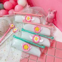 Wholesale magic zipper resale online - Card Captor Sakura Anime Magic Array Printed PVC School Students Lovely Cartoon Transparent Zipper Pen Bag Case Cosmetic Bag New