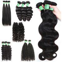 saç uzantıları kıvırcık dalga toptan satış-Brezilyalı Perulu Bakire Insan Saçı Hint 8-28 inç Düz Derin Dalga Vücut Örgüleri Sapıkça Kıvırcık Ucuz İnsan Remy Saç Uzantıları 3 Demetleri