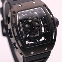 Wholesale cool black watches for men for sale - Group buy Boyuheng Quartz Cool Black Mens Watches Skull Head Watch Full Transparent Skeleton Wristwatches Fashion Gift For Man Boy Friend Husbands