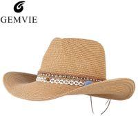 chapéus de verão vintage senhoras venda por atacado-GEMVIE Vindima Cowboy Chapéu De Palha Para As Mulheres Verão Aba Larga Chapéu de Sol Senhora Proteção UV Sol Sombra Praia Tamanho Ajustável