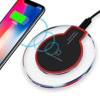 chargeurs de base achat en gros de-Amazon Ultra-Thin Universal QI Chargeur rapide sans fil Nouveau chargeur ultra-mince Crystal charge claire K9 5W chargeur sans fil pour téléphones mobiles