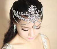 Wholesale rhinestone eyebrows resale online - Crystal Headpieces Wedding Hair Accessories Bridal Shining Crown Luxury Rhinestone Frontlet Eyebrows Korean Style