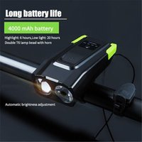 Wholesale bike headlight usb for sale - Group buy 4000MAH Induction Front Bicycle Lights Set USB Rechargeable Headlight Horn Lumen Smart LED Bike Lamp Cycling