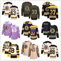 boston-jerseys großhandel-Individuelle Boston Bruins Jersey 4 Bobby Orr 63 Brad Marchand 37 Patrice Bergeron 88 Pastrňák 40 Rask 33 Chara USA Flag Fashion Hockey Jerseys