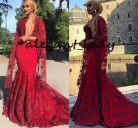 envoltório formal vermelho venda por atacado-Red Peals Sereia Elegante Vestidos de Noite Com Envoltório Mangas 2019 Jewel Neck Ocasião Nigeriano Africano Muçulmano Prom vestidos Vestido Formal