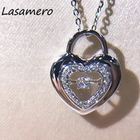 Wholesale 18k ct necklace resale online - LASAMERO Halo CT Round Cut Heart Shape Pave Set k Gold Natural Diamond Pendant Necklace