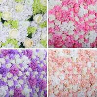 peonía floral al por mayor-60x40 cm Flor Artificial decoración de la pared Road Lead Hydrangea Peony Rose Flower para boda Arco Pabellón Esquinas decoración floral Fondo