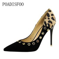 Wholesale sexy shoes leopard red for sale - Dress Poadisfoo Sexy Nightclubs High heeled Shallow Mouth Pointed Suede Leopard Print Color Riveted Shoes ds