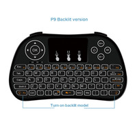 android keyboard qwerty touch großhandel-2019 P9 Backlit 2,4 GHz Wireless Mini-Tastatur QWERTY Fernbedienung Handheld-Unterstützung Multi-Touch für Android TV Box PC Besser als I8
