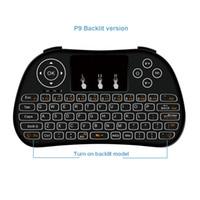 android tv multi toque venda por atacado-2019 P9 retroiluminado 2.4GHz mini-teclado QWERTY controle remoto Suporte Handheld multi-touch para Android TV Box PC Melhor do que I8