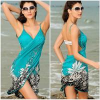 ingrosso il tovagliolo di donna copre l'abito-Summer Women Polyester Beach Dress Sexy Sling Beach Wear Sarong Bikini Cover-up Wrap Gonna Sciarpa Scialle Towel Open-Back Swimwear