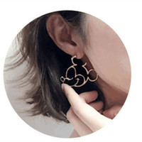 Wholesale animal ear clip resale online - 2019 new design cartoon mouse earring cute lovely girls jewelry Mouse Animal Drop Earrings silver gloden black