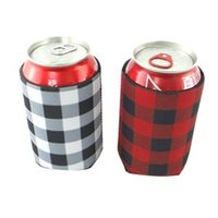 Wholesale cool bottles cans resale online - plaid Neoprene Can cooler Sleeve Beverage With Bottom Beer Cup Cover Case Bottle Cup Holder Drinkware Handle Kitchen Tools FFA1459