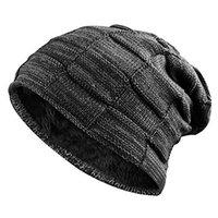 fleece beanie schwarz großhandel-Fashion Winter Slouchy Strickmütze für Männer Frauen Fleece Skullies Beanie Hat Solide Warme Plaid Schnee Gorro Chapeu Schwarz Grau
