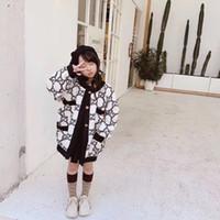 abrigos para niños pequeños al por mayor-Niños niñas chaqueta de lana de la muchacha larga del niño de la chaqueta del invierno del bebé de lana de cuello redondo informal cazadora Espesor de vestir exteriores del otoño