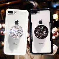 caso dos dedos 3d venda por atacado-Luxo 3d diamante aderência stand titular case para iphone 7 8 capa x xs max xr 6 7 8 além de estender o apoio do dedo caso claro funda
