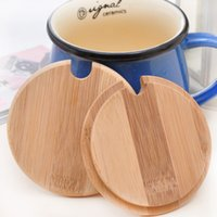 Wholesale wooden bamboo glasses resale online - Wooden Bamboo Lids For Mugs cm Lids Wood Proof Cover for Coffee Cups Glass Mugs Stemless Cups Cups Heat Mat