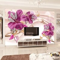 Wholesale flowers living room sofa for sale - 3D Embossed Flower Jewelry Pearls Photo Wallpaper Silk Wall Murals Butterfly Crystal Diamonds Large wall Art Bedroom Sofa TV background wall